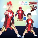 """""""( For Kids ) Swimsuit for Boys ชุดว่ายน้ำ เด็กผู้ชาย Iron Man The Avengers - ชุดว่ายน้ำบอดี้สูท เสื้อแขนยาว กางเกงขาสั้น ซิบหน้า สีแดง สกรีนลายชุด Iron Man เสมือนจริง มาพร้อมหมวกว่ายน้ำและถุงผ้า สุดเท่ห์ ใส่สบาย ลิขสิทธิ์แท้ ( สำหรับเด็กอายุ 6เดือน-"""