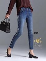 กางเกงแฟชั่น กางเกงยีนส์ทรงเดฟผ้ายีนส์ฮ่องกง รุ่นขายาวผลิตมาไซส์ใหญ่