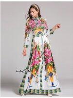 เดรสแฟชั่น Maxi Dress Brand Dolce&Gabbana เดรสยาว แขนยาว คอปก