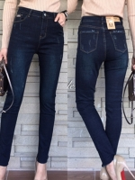 กางเกงแฟชั่น กางเกงยีนส์ขายาวสีเข้มสวยสุด เอวสูง เนื้อผ้ายีนส์อย่างดี