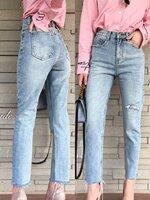 กางเกงแฟชั่น กางเกงยีนส์เกาหลี ดีเทลขาดเซอร์ ฟอกสีอ่อน ทรงบอยขาเล็ก