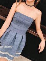 เดรสแฟชั่น Mini Dress เดรสเกาะอก เข้ารูปช่วงตัว เนื้อผ้ายืดๆหน่อย เข้ารูปช่วงเอว