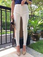 กางเกงแฟชั่น กางเกงเอวสูงทรงสกินนี่ ผ้านำเข้า korea style