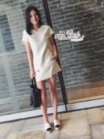 ชุดเซทแฟชั่น เซตเสื้อ+กางเกงขาวขาสั้น สีขาวสไตล์ เรียบหรู