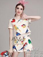 ชุดเซทแฟชั่น เซ็ตเสื้อ+กางเกงใส่เข้าชุดกัน เนื้อผ้า polyester+silk หนาเกรดดี