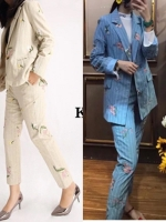 ชุดเซทแฟชั่น Set เสื้อคลุมทรงสูท แมทกับกางเกงทรงกระบอก
