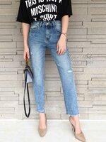 กางเกงแฟชั่น High-waist jeans กางเกงยีนส์ทรง boyfriend เอวสูง ฟอกสีสวย
