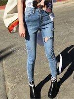 กางเกงแฟชั่น กางเกงยีนส์ขายาวเอวสูง ทรงขาเดฟ ผ้ายีนส์ยืดพรีเมี่ยม