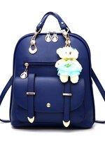 กระเป๋าเป้ พวงกุญแจหมี หนัง PU ปรับสายให้สามารถสะพายไหล่ สะพายข้างได้ สีน้ำเงิน