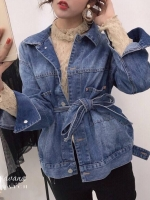 เสื้อแฟชั่น Bow Belt Jacket jean แบบสาวสไตล์โคเรีย ใส่ได้ทั้ง 2 แบบ