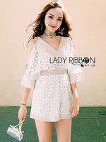 พร้อมส่ง ~ Lady Jenny Cut-Out and Laser-Cut White and Beige Cotton Playsuit