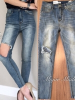 กางเกงแฟชั่น กางเกงยีนส์ทรงสกินนี่ x2 แบรนด์ดังของเกาหลี เอวสูงพอดี