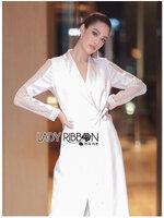 เสื้อแฟชั่น โค้ทยาวผ้าเครปสีขาวตกแต่งลูกไม้สไตล์มินิมัลชิค