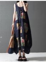 ชุดเดรสยาวผ้าฝ้ายพิมพ์ลาย แขนกุด ทรงใหญ่ ตามแบบ