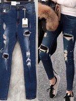 กางเกงแฟชั่น กางเกงยีนส์ CC DOUBLE O ดีไซล์ทรงเอวสูงพร้อมดีเทลการฟอกสี