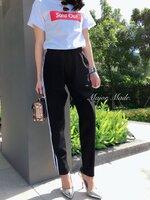 กางเกงแฟชั่น กางเกงวอล์มขายยาว เอวยางยืด ทรงเท่ห์ๆใส่ง่ายมาก