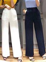 กางเกงแฟชั่น กางเกงขายาวทรงกระบอกตรง เอวสูงเล็กน้อย