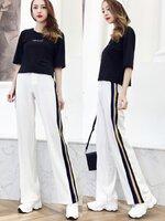 กางเกงแฟชั่น กางเกงขายาว ทรงขากระบอก สวมใส่ง่าย ตกแต่งเส้นแถบตรงขากางเกงทั้งสองด้าน