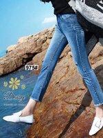 กางเกงแฟชั่น กางเกงยีนส์ทรงขาม้านิดๆ ผ้ายีนส์ฮ่องกง
