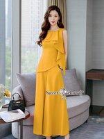ชุดเซทแฟชั่น ชุดเซ็ทเสื้อ+กางเกงงานเกาหลี ผ้าพื้นเนื้อดีผ้าหนานุ่มมีน้ำหนัก สีเหลืองสวย
