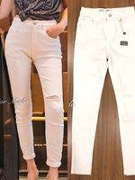กางเกงแฟชั่น กางเกงยีนส์สกินนี่สีขาว นิ่มมาก เอวสูง