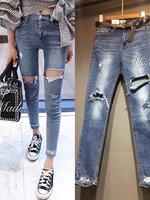 กางเกงแฟชั่น Korea style กางเกงสไตล์เกาหลี ดีไซน์แต่งขาดที่ขา 2 ข้าง