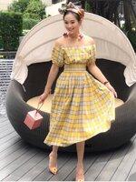 เดรสแฟชั่น Brand zara dress ปาดไหล่สีเหลือง ลายตาราง ช่วงเอวสม็อก