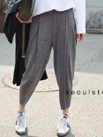 กางเกงแฟชั่น กางเกงไหมพรมทรงฮาเร็ม แต่งตะเข็บหน้าหลัง สไตล์ Koreaแมทช์ง่าย