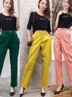 กางเกงแฟชั่น กางเกงขายาวเอวสูง ดีไซน์เรียบง่าย ตกแต่งด้วยงานอัดพรีทรอบๆตัว