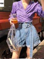 กางเกงแฟชั่น Jeans pants กางเกงยีนส์เอวสูงขาบานสั้นพับปลายขา เอวรูด
