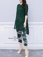 ชุดเซทแฟชั่น ชุดเซ็ทเสื้อ+กางเกงเกาหลี เสื้อผ้าชีฟองสีเขียว