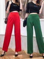 กางเกงแฟชั่น กางเกงขายาวเอวสูง ดีไซน์เป็นทรงขากระบอก มี 4 สี