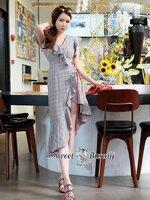 เดรสแฟชั่น ชุดเดรสเกาหลี ผ้าทอลายตารางสีเทา เนื้อผ้านุ่มมีน้ำหนัก
