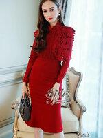 เดรสแฟชั่น เดรสแขนยาวสีแดงสด ลุคหรู เนื้อผ้า cotton +polyester
