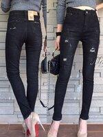 กางเกงแฟชั่น กางเกงยีนส์ขายาว เอวสูง สกินนี่ สีดำฟอก ทำจากผ้าเนื้อยีนส์ยืดอย่างดี