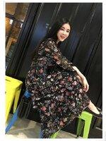 เดรสแฟชั่น Maxi Dress ยาว แขนยาว งานสวย งานสกลีนลายดอกไม้