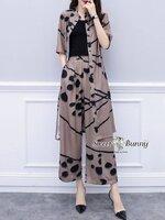 ชุดเซทแฟชั่น ชุดเซ็ทเสื้อคลุมยาว+เสื้อซับใน+กางเกงเกาหลี ( set 3 ชิ้น)