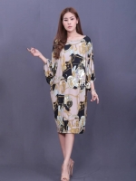เดรสแฟชั่น ผ้ายืดเกาหลีมีน้ำหนัก ผ้าลายในตัวทรงปล่อย