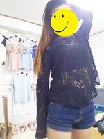 เสื้อแฟชั่น ผ้าลูกไม้โครเชต์ซีทรู แขนยาว สีดำ