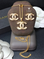 พร้อมส่ง ~ A~Dora ฺBrand Chanel Jewelry Sets 18K Gold Plated Stud Earrings and Necklace