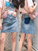 กระโปรงแฟชั่น Jeans Style Korea กระโปรงยีนส์ดีไซน์ Chic ด้านหลังกระเป๋าฟอกเข้ม