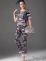 ชุดเซทแฟชั่น เซ็ตเสื้อ+กางเกงใส่เข้าชุดกัน เนื้อผ้า polyester+silk พิมพ์ลายดอกไม้สวยทั้งตัว