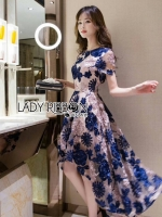 พร้อมส่ง ~ Lady Amelia Flower Embroidered Asymmetric Tulle Dress