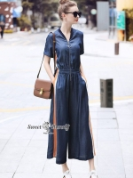 จั๊มสูทแฟชั่น ชุดจั๊มสูทยีนส์เกาหลี ผ้าเดนิมเนื้อนุ่มไม่หนาใส่สบาย ฟอกสีน้ำเงิน