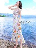 เดรสแฟชั่น Dress ชุดกระโปรงเนื้อผ้าอย่างดีนิ่มพริ้วลื่นๆเย็นๆ ลวดลายดอกไม้สดใส