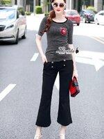ชุดเซทแฟชั่น เสื้อ+กางเกง ดีไซน์ตัวเสื้อทรงแขนสั้นมีความวิ้งในตัว