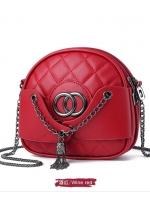 กระเป๋าแฟชั่นสตรี สายสร้อยสะพายยาว มี4สีให้เลือก สีแดง