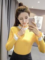 เสื้อแฟชั่นเกาหลี มีเข็มกลัดโบว์ ตกแต่ง สามารถถอดออกได้ สีเหลืองสดใส
