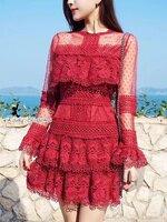 เดรสแฟชั่น เดรสลูกไม้ Brand Selt Portrait สีแดง
