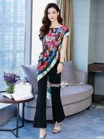 ชุดเซทแฟชั่น ชุดเซ็ทเสื้อ+เชือก+กางเกงงานเกาหลี เสื้อผ้าพิมพ์ลายดอก